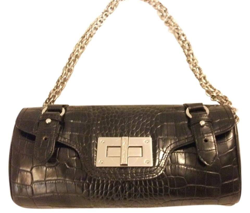 Ralph Lauren Moc Croc. Barrel Purse Vintage Designer Signature 1980s Double Chain  Straps Black Clutch ... 104f2faad00b1
