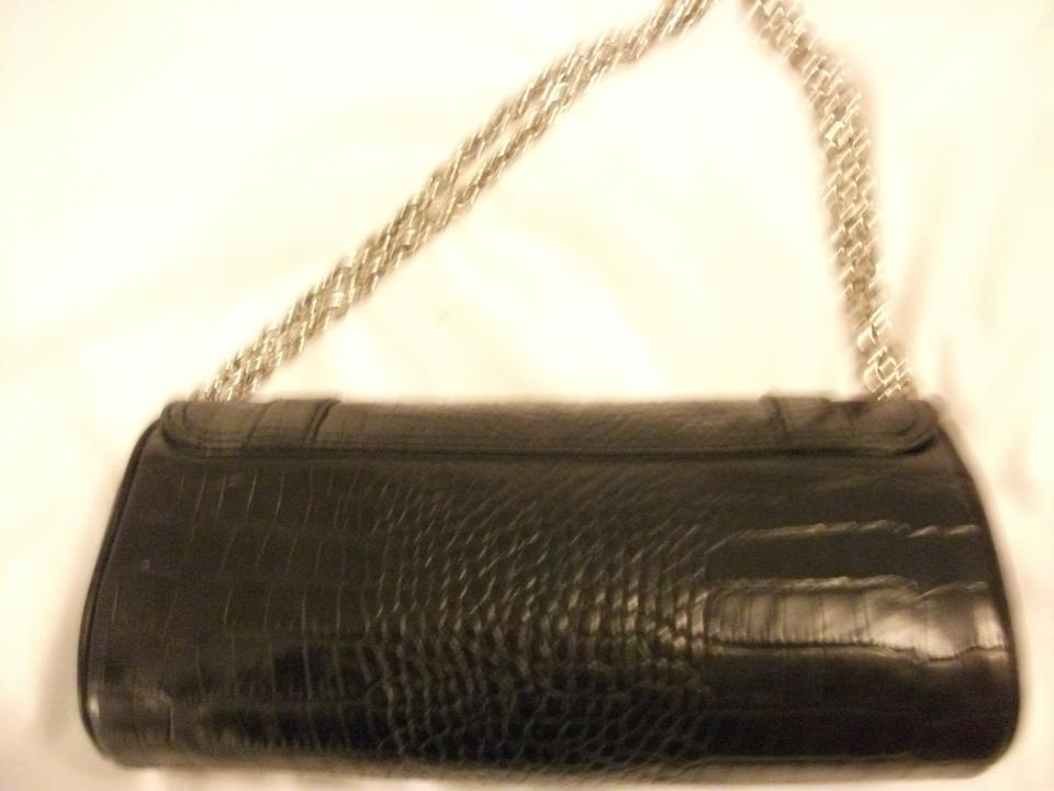 Ralph Lauren Moc Croc. Barrel Purse Vintage Designer Signature 1980s Double Chain  Straps Black Clutch. 123456789101112 5b9a593d2c9a5