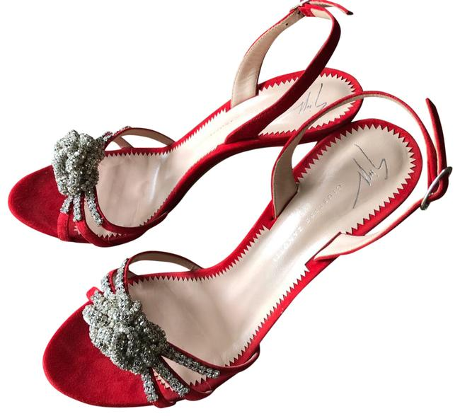 Item - Red Ornament Crystal Suede Slingback Sandals In Formal Shoes Size EU 38.5 (Approx. US 8.5) Regular (M, B)