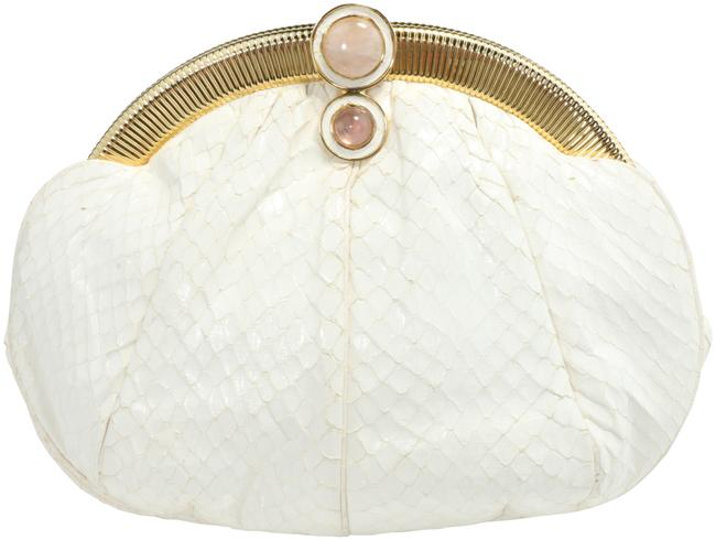 Item - Evening White Snakeskin Leather Clutch