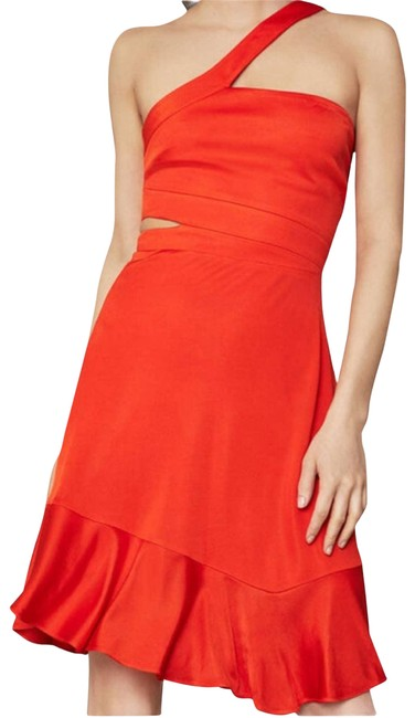 Item - Red Asymmetrical Cutout Swing Short Cocktail Dress Size 4 (S)