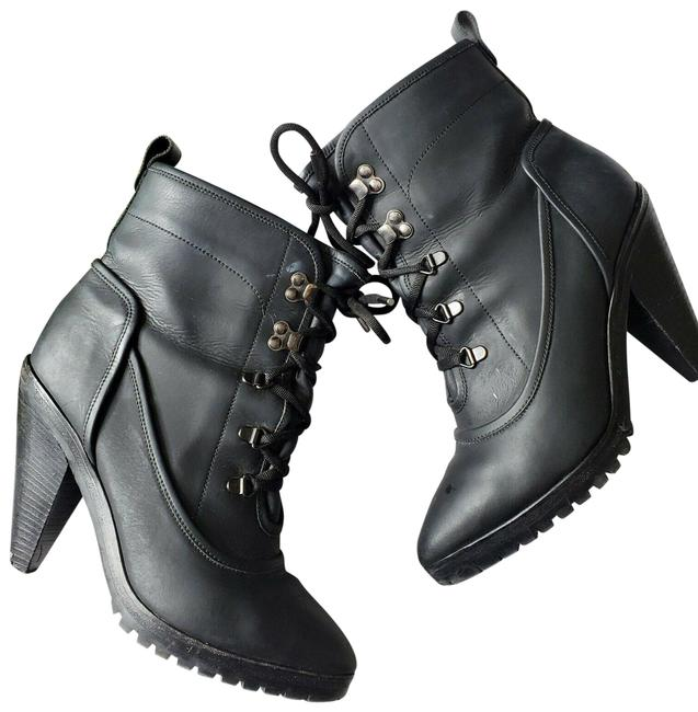 Item - Black Charley Coated Leather Lace-up Cone Heel Pointed Boots/Booties Size US 8 Regular (M, B)