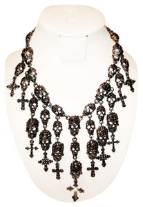 Costume National Skull Necklace & matching Earrings Marquisite Look