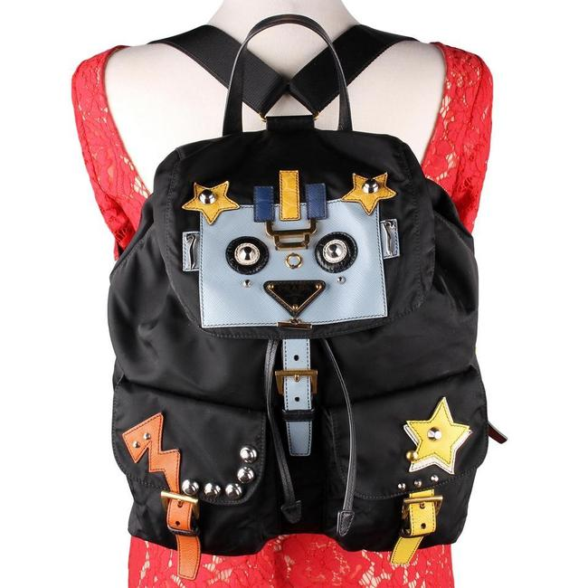 Item - Backpack Fabric with Robot Motif New 8887d Black Nylon Weekend/Travel Bag