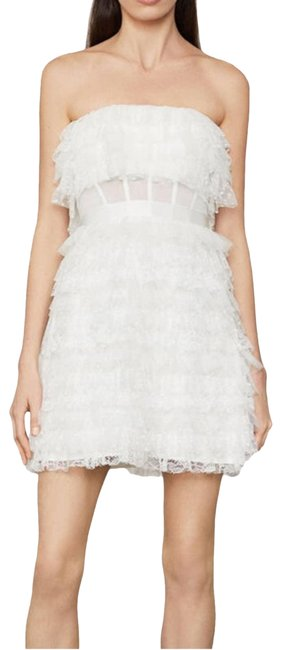 Item - White Lace Ruffle Strapless (8) Short Cocktail Dress Size 8 (M)