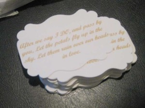 White with Gold Lettering 50 Favor Tags For Rose Petals