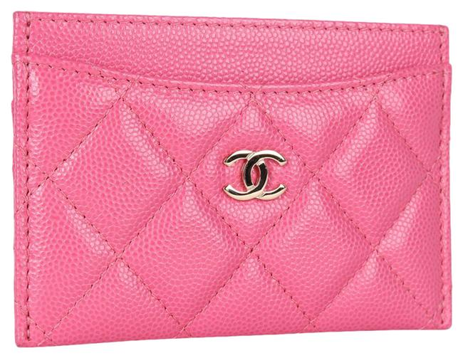 Item - Pink Quilted Caviar Leather Credit Card 9267d Wallet
