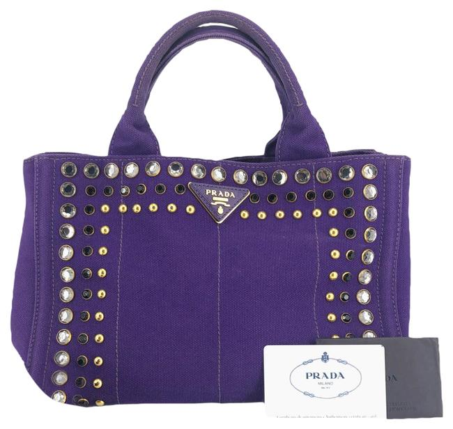 Item - Bag Canapa Crystal Studded Small #35513 Purple Canvas Tote