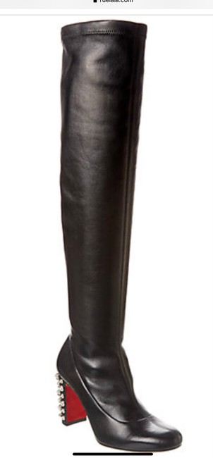 Item - Black and Silver Leather Knee High with Tone Spike Studded Heel Boots/Booties Size EU 39 (Approx. US 9) Regular (M, B)