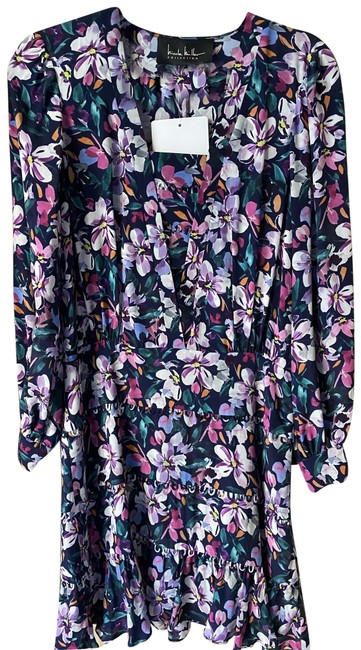 Item - White Pink Blue New Floral Mini Msrp Mid-length Short Casual Dress Size 4 (S)