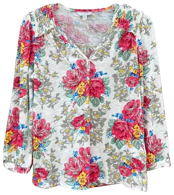 Item - Cream Floral Printed Smocked Peasant Blouse Size 0 (XS)
