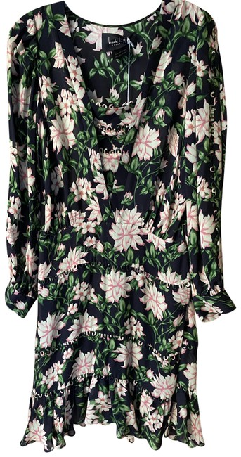 Item - Black Green Pink New Floral Msrp Short Casual Dress Size 4 (S)