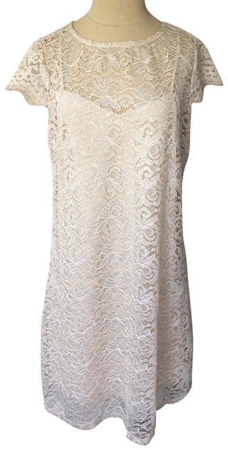Item - Nude/Taupe/Silver Metallic Lace Cap Sleeve Mid-length Cocktail Dress Size 8 (M)