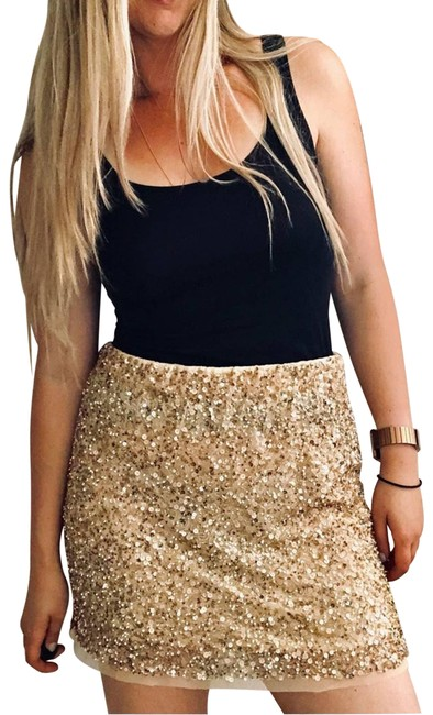 Item - Gold Woman Tan Cream Sequin Sparkle Beaded Mesh Small Skirt Size 4 (S, 27)