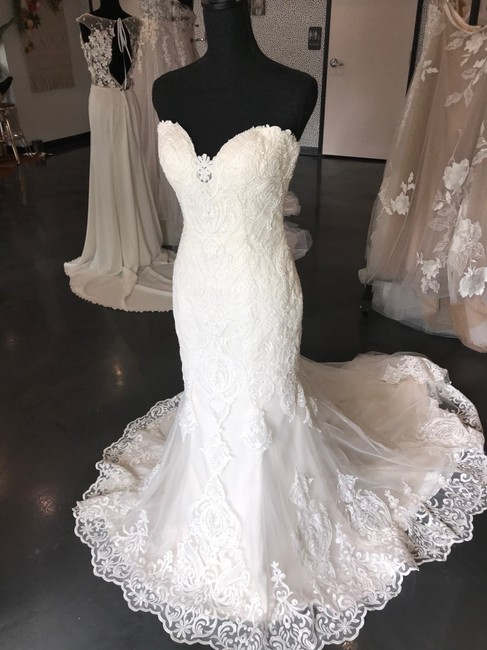 Item - Ivory Over Soft Blush Lace Tulle Autumn Sexy Wedding Dress Size 6 (S)