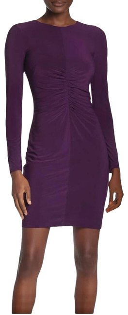 Item - Purple Shirred Front Long Sleeve Mid-length Cocktail Dress Size 8 (M)