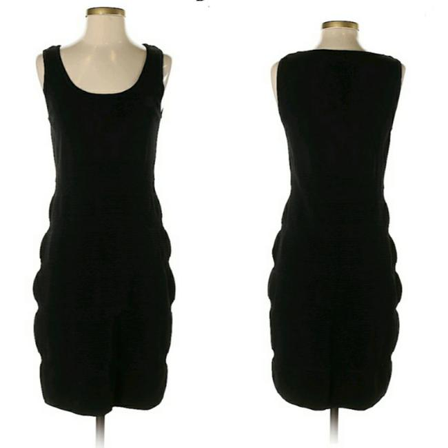 Item - Black Knit Textured Striped Bodycon Mid-length Cocktail Dress Size 2 (XS)