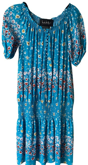 Item - Sky Blue New Floral Smocking Small Msrp Mid-length Short Casual Dress Size 4 (S)
