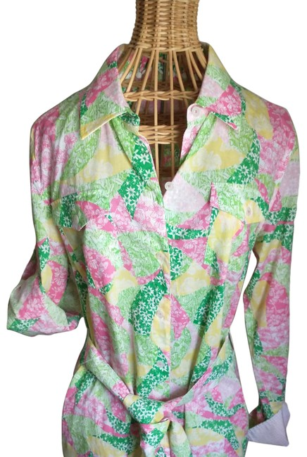 Item - Multi Color Pink Green White Mid-length Work/Office Dress Size 6 (S)