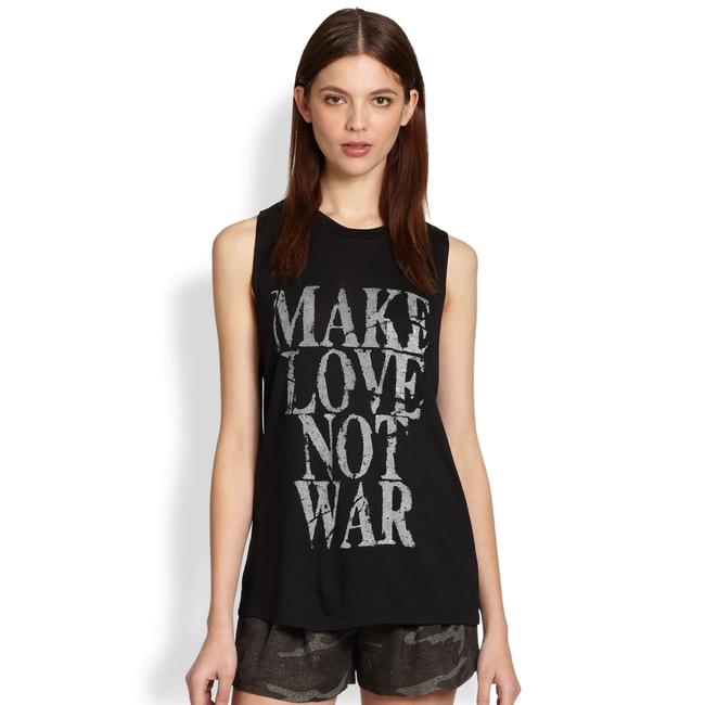 Item - Black Make Love Not War Graphic Muscle Tee Shirt Size 4 (S)