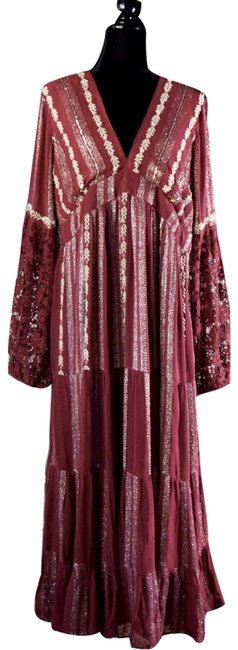 Item - Burgundy Wine Blaise Embroidered Beaded Lace Maxi New Long Formal Dress Size 14 (L)