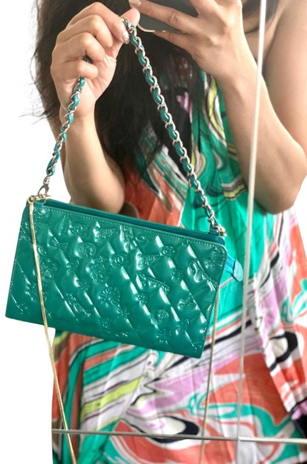 Item - Clutch Lucky Charm Symbols Pochette Turquoise Green Patent Leather Shoulder Bag