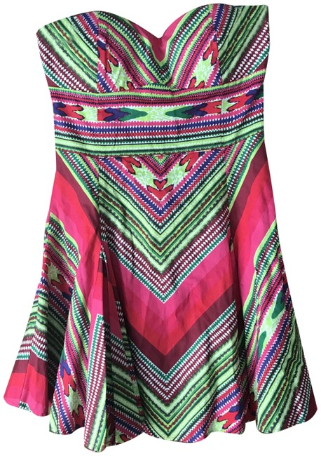 Item - Pink Green Colorful Strapless Short Casual Dress Size 8 (M)