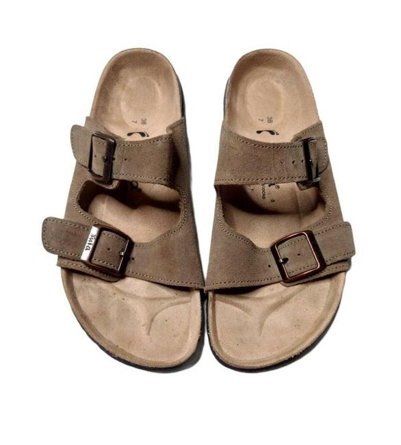 Item - Beige Tula Arizona Suede Wide Straps Slip On Casual Comfortable Sandals Size EU 38 (Approx. US 8) Narrow (Aa, N)