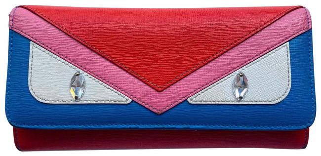 Item - Blue Red Pink White Silver Long Monster Eyes Leather Wallet