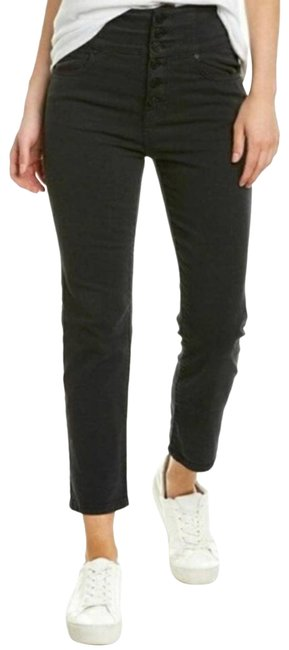 Item - Black Dark Rinse Laurelle High Exposed Button Fly Capri/Cropped Jeans Size 29 (6, M)