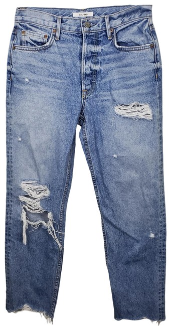 Item - Blue High Rise Helena Distressed Straight Leg Jeans Size 26 (2, XS)