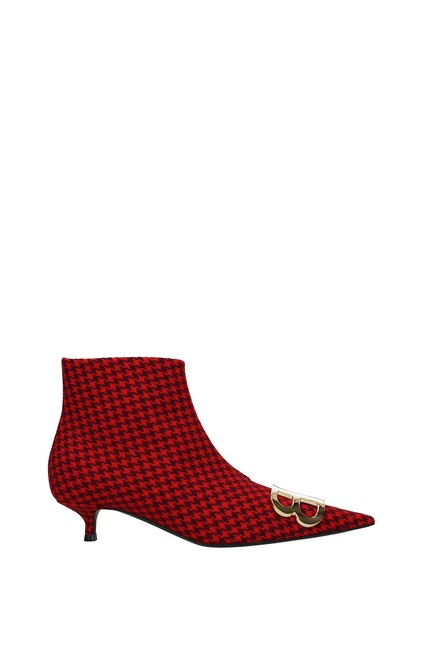 Item - Red Ankle Women Fabric Boots/Booties Size EU 37 (Approx. US 7) Regular (M, B)