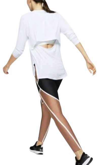 Item - White Modal Open Back Loose Yoga Shirt Activewear Top Size 14 (L)