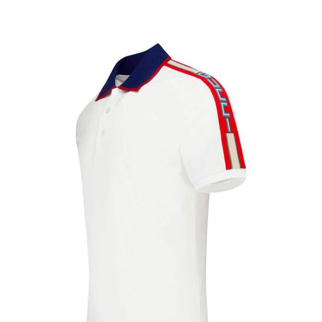 Item - White Jacquard Stripesdown The Sleeves In Red Navy Blue Polo Collar with Red Trim. Three-button Placket with Of Xxxl Slim Stretch Cotton Shirt Button-down Top Size 26 (Plus 3x)