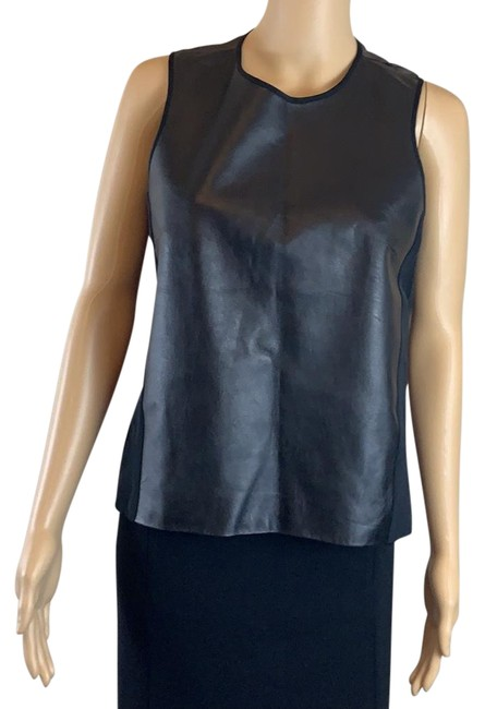 Item - Black Leather with Sheer Tank Top/Cami Size 4 (S)