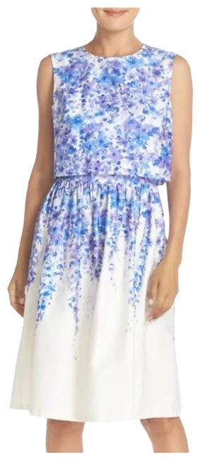 Item - White and Purple With Crop Top Mid-length Short Casual Dress Size 6 (S)