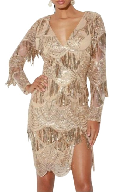 Item - Gold Awe - Inspiring Sequin Embroidered Fringed Mid-length Cocktail Dress Size 10 (M)