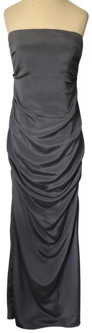 Item - Gray Silk Felicity Tuck Strapless Gown Long Formal Dress Size 8 (M)