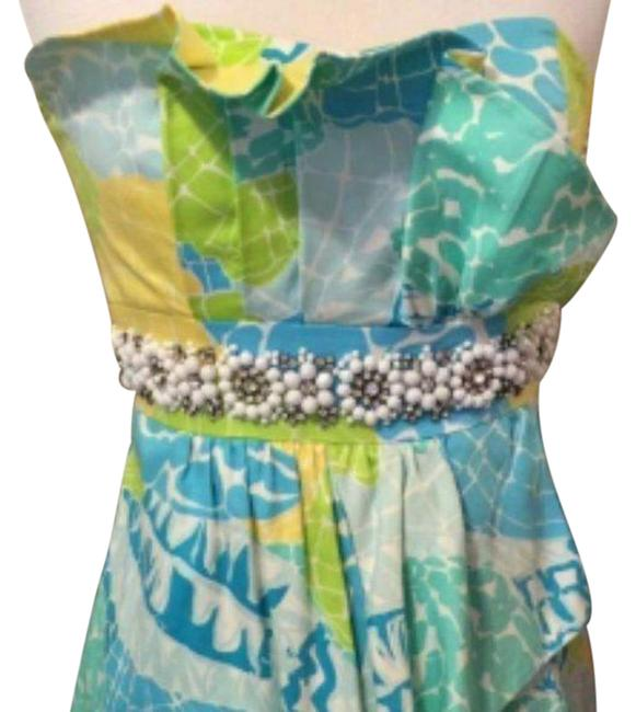 Item - Blue Green Strapless Beaded Ruffled Shift Mid-length Night Out Dress Size 10 (M)
