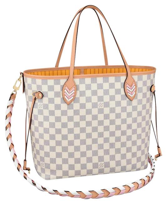 Item - Neverfull Azur Damier Mm with Shoulder Strap Gray White Canvas Tote