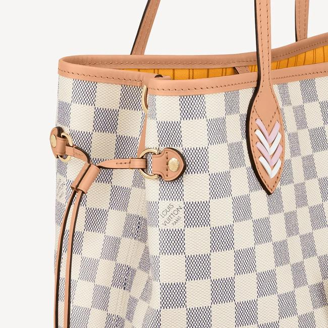 Louis Vuitton Neverfull Azur Damier Mm with Shoulder Strap Gray White Canvas Tote Louis Vuitton Neverfull Azur Damier Mm with Shoulder Strap Gray White Canvas Tote Image 2