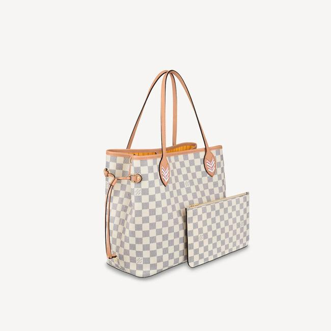 Louis Vuitton Neverfull Azur Damier Mm with Shoulder Strap Gray White Canvas Tote Louis Vuitton Neverfull Azur Damier Mm with Shoulder Strap Gray White Canvas Tote Image 3