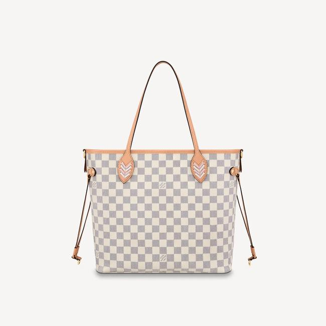 Louis Vuitton Neverfull Azur Damier Mm with Shoulder Strap Gray White Canvas Tote Louis Vuitton Neverfull Azur Damier Mm with Shoulder Strap Gray White Canvas Tote Image 5