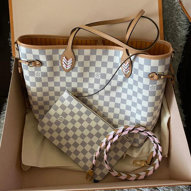 Louis Vuitton Neverfull Azur Damier Mm with Shoulder Strap Gray White Canvas Tote Louis Vuitton Neverfull Azur Damier Mm with Shoulder Strap Gray White Canvas Tote Image 6