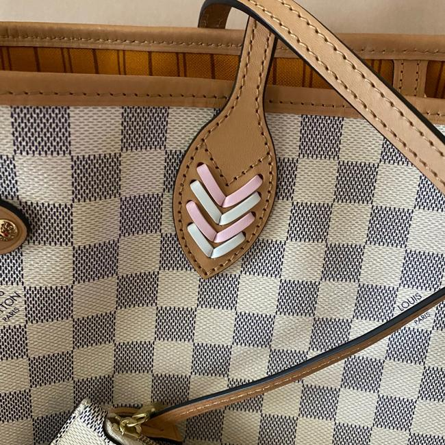 Louis Vuitton Neverfull Azur Damier Mm with Shoulder Strap Gray White Canvas Tote Louis Vuitton Neverfull Azur Damier Mm with Shoulder Strap Gray White Canvas Tote Image 9