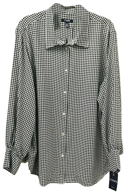 Item - Black Womens Career White Houndstooth Long Sleeve Blouse Size 26 (Plus 3x)