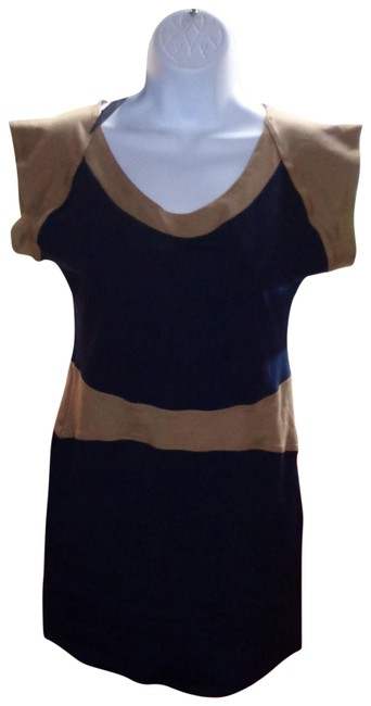 Item - Blue with Tan Waistband Colorblock Short Casual Dress Size 12 (L)