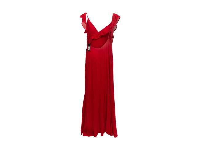 Item - Red Ruffle Trimmed Casual Maxi Dress Size 16 (XL, Plus 0x)