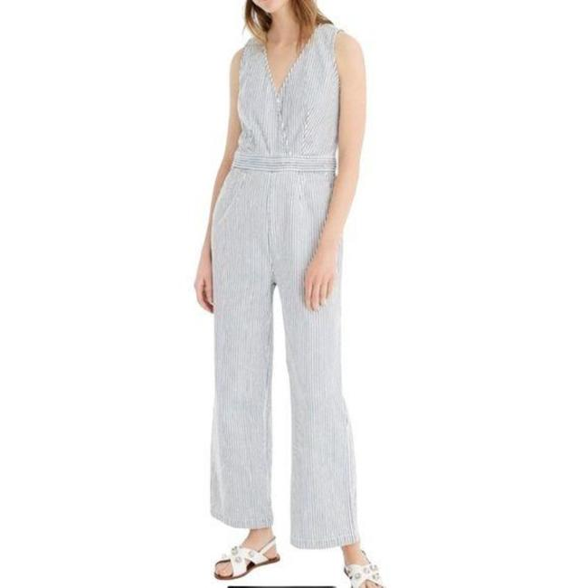 Item - Blue and White Point Sur By Wide Leg Striped Romper/Jumpsuit