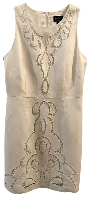 Item - White Not Off White 50% Linen Embroidery Lil Stretchy Mid-length Formal Dress Size 12 (L)